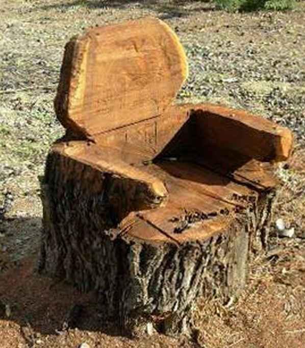 сделать кресло из пня