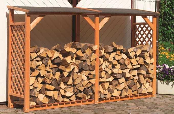 из дерева навес для дров